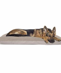 Furhaven Pet Dog Bed | Oxford & Suede Snuggle Throw Pillow Cushion Pet Bed w/ Removable Cover for Dogs & Cats, Clay, Jumbo