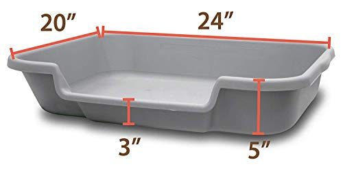 PuppyGoHere Dog Litter Box Recycled Gray Color: 24″x20″x5″ Recycled Gray Colored Pans May Vary in Color. Marks May BE Present. See More Information in Description USA Made