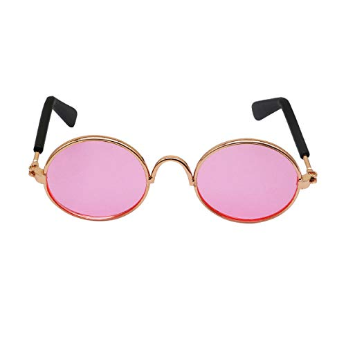 YAODHAOD Pet Dog Cat Sunglasses, Classic Retro Round Metal Prince Princess Sunglasses Puppy Katie Photo Props Toys(2 Pack) (Pink)