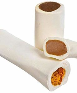 Filled Dog Bones (Flavors: Peanut Butter, Cheese, Bacon, Beef, etc) Made in USA Stuffed Bulk 3 to 6″ Femur Dog Dental Treat & Chew, American Made (Variety Pack, Large (5-6″) – 3 Flavors)
