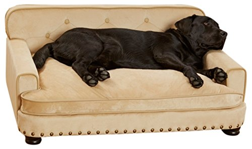 Enchanted Home Pet CO1556-14-CARM Ultra Plush Library Pet Sofa, Caramel, Large (51-100 lbs)