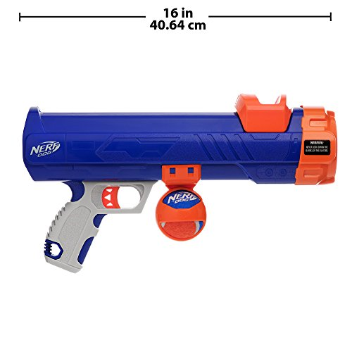 Nerf Dog Compact Tennis Ball Blaster Dog Toy, Great for Fetch, Hands-Free Reload, Launches up to 50 ft, Single Unit, Includes 1 Nerf Ball