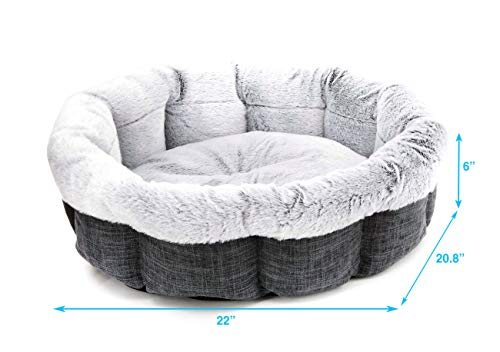 Best Pet Supplies Round Bed for Pet, Medium, Charcoal (Round)