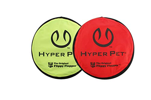 Hyper Pet Flippy Flopper Dog Frisbee Interactive Dog Toys [Flying Disc Dog Fetch Toy – Floats in Water & Safe on Teeth] (Pack of 2, Colors Will Vary)