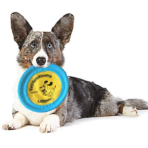 Littlestar 9″ Tail-Spin Floating Flying Disc, Upgraded Dog Flying Disc Thickened Oxford Cloth, Tail-Spin Flyer Soft Flying Disc Toy, for Dog Interactive Training (Yellow)