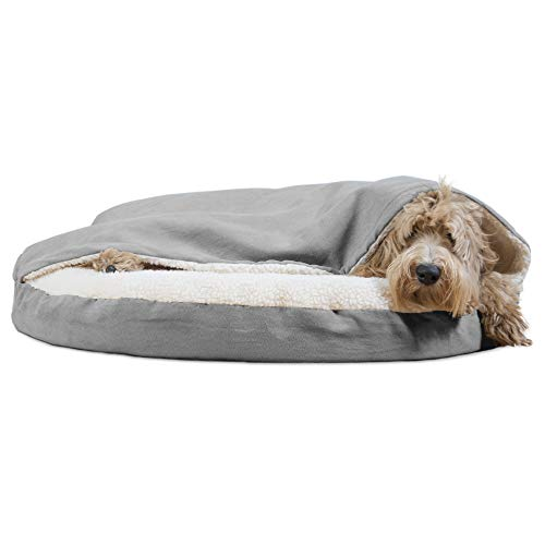 Furhaven Pet Dog Bed | Orthopedic Round Cuddle Nest Faux Sheepskin Snuggery Blanket Burrow Pet Bed w/Removable Cover for Dogs & Cats, Gray, 35-Inch
