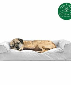 Furhaven Pet Dog Bed  Quilted Pillow Cushion Traditional Sofa-Style Living Room Couch Pet Bed w/ Removable Cover for Dogs & Cats, Silver Gray, Medium