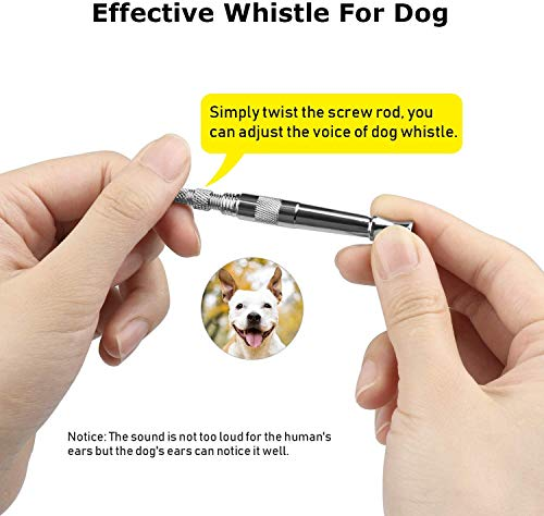 Dog Whistle, Professional Dog Whistle to Stop Barking, Mute Adjustable Pitch Ultrasonic Training Tool Stainless Teel Lanyard, Make The Dog Come to You