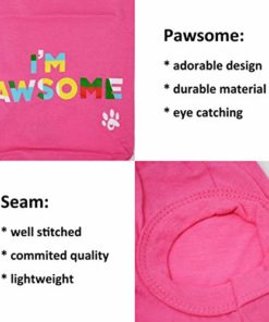 Cutie Pet Dog Cat Clothes Shirts I'm Pawsome 100% Cotton Comfortable and Breathable for Small Medium Large Pets