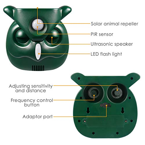 PETBROO  , Ultrasonic Animal with Motion Sensor and Flashing Lights Outdoor Solar Powered Waterproof Farm Garden Yard, Cats, Dogs, Foxes, Birds, Skunks, Rod, New-Green (Unknown)