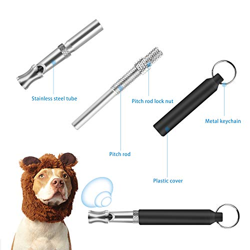 JESOT Dog Training Whistle with Clicker, Adjustable Pitch Ultrasonic Dog Training Kit with Lanyard for Dog Recall Repel Silent Training(4 Pack)(Black+Blue)