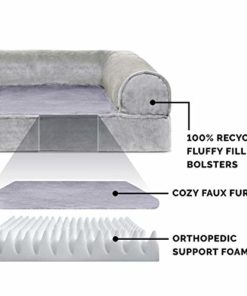 Furhaven Pet Dog Bed | Orthopedic Faux Fur & Velvet Traditional Sofa-Style Living Room Couch Pet Bed w/ Removable Cover for Dogs & Cats, Smoke Gray, Medium