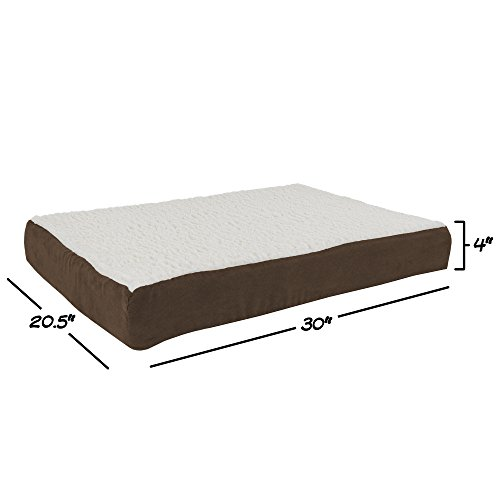 PETMAKER Orthopedic Sherpa Top Pet Bed with Memory Foam and Removable Cover 30×20.5×4 Brown