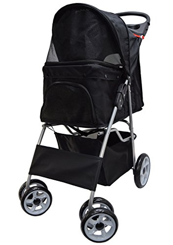 VIVO Black 4 Wheel Pet Stroller for Cat, Dog and More, Foldable Carrier Strolling Cart (STROLR-V001K)