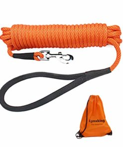 lynxking Check Cord Long Dog Training Leash Tracking Line Heavy Duty Puppy Braided Rope Lead for Small Medium Large Dogs (15 feet x 3/8 in, Orange)