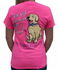 Southern Attitude Who Said Diamonds are a Girls Best Friend Dog Pink Women's Short Sleeve T-Shirt (Medium)