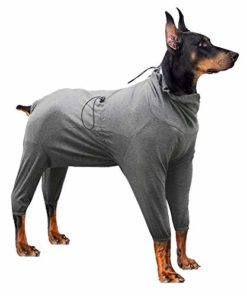 Heywean Dog Surgical Recovery Suit Thunder Shirts for Dogs Long Sleeve Keep Dog from Licking Abdominal Wound Protector E-Collar Alternative After Surgery Wear Pet Supplier (M, Grey)