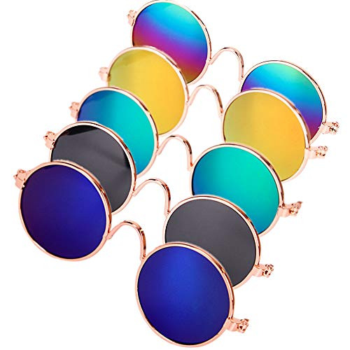 DPLUS Cool Stylish and Funny Cute Pet Sunglasses Pet Goggles – Glasses Set of 5 – Classic Retro Circular Metal Prince Sunglasses for Cat,Chihuahua or Small Dogs (Classic Retro)