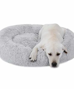Nova Microdermabrasion Calming Ultra Soft Shag Faux Fur Dog Bed Comfortable Donut Cuddler for Dogs and Cats,Self-Warming and Washable (30 Inch, Grey)