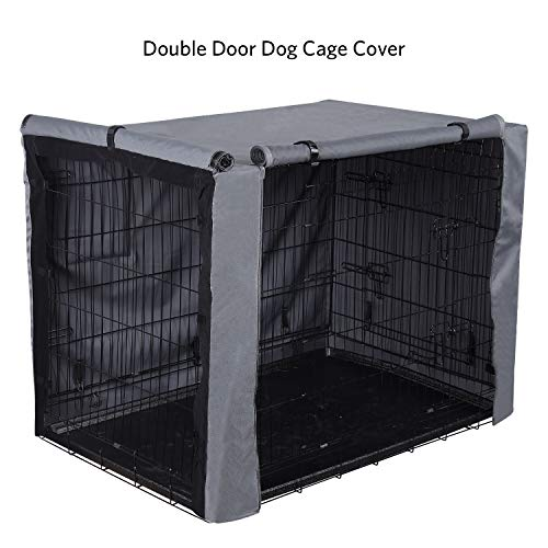 PINGKO Durable Dog Crate Cover-Water Resistant Breathing,Lightweight 600D Polyester with PU Coating Cover,Fits for 36 42 48 Inches Wire Pet Crate Kennel Covers (42 Inch)