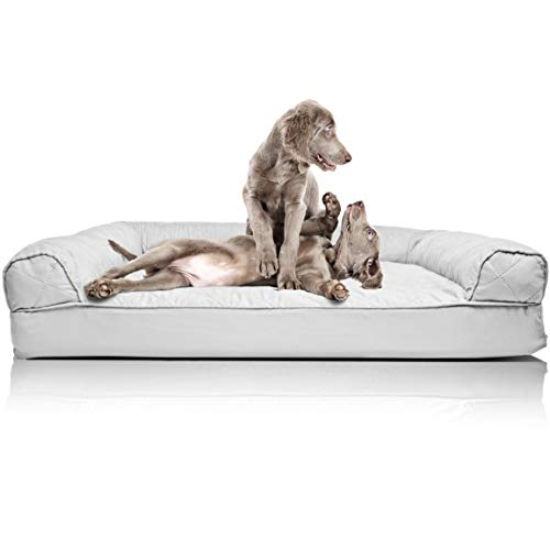Furhaven Pet Dog Bed | Orthopedic Quilted Traditional Sofa-Style Living Room Couch Pet Bed w/ Removable Cover for Dogs & Cats, Silver Gray, Jumbo