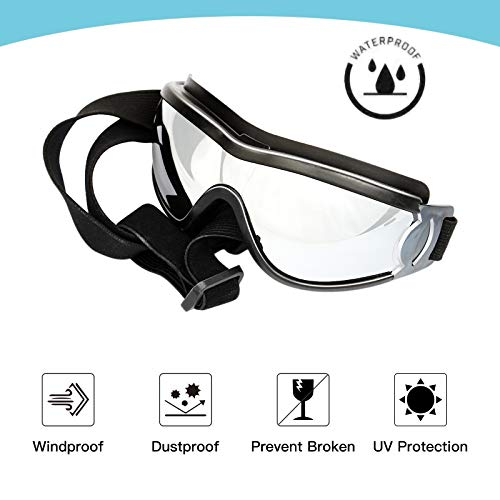 PEDOMUS Dog Sunglasses Dog Goggles Adjustable Strap for Travel Skiing and Anti-Fog Dog Snow Goggles Pet Goggles for Medium to Large Dog