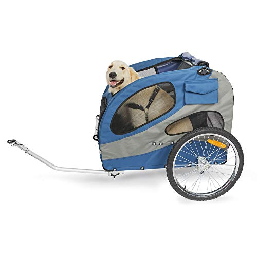 PetSafe Happy Ride Steel Dog Bicycle Trailer – Durable Frame – Easy to Connect and Disconnect to Bikes – Includes Three Storage Pouches and Safety Tether – Collapsible to Store – Large
