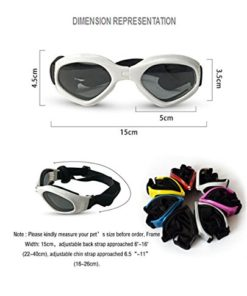 PetBoBo Pet Waterproof Windproof Anti-Fog Eye Protection Goggles, Stylish Pet Dog UV Goggles Sunglasses Waterproof Protection Sun Glasses for Dog White
