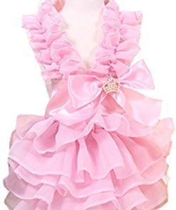 MaruPet Fashion Sweet Puppy Dog Love Printed Princess Skirt Pet Dog Pleated Camisole Tutu Dress Pink M