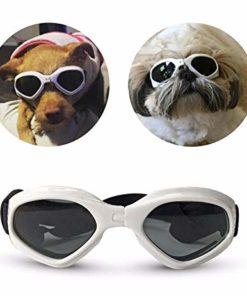 PetBoBo Pet Waterproof Windproof Anti-Fog Eye Protection Goggles, Stylish Pet Dog UV Goggles Sunglasses Waterproof Protection Sun Glasses for Dog White