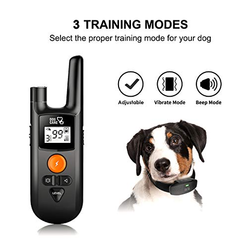 Dog Training Collar – Rechargeable Dog Shock Collar w/3 Training Modes, Beep, Vibration and Shock, 100% Waterproof Shock Collar for Dogs, Up to 1000Ft Remote Range, 0~99 Shock Levels Dog Training Set