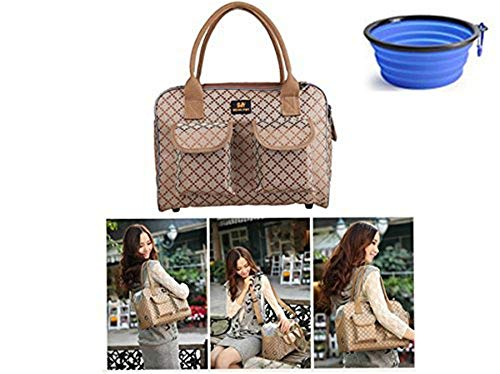 Hubulk Dog Carrier Bag Pet Tote Bag Doggie Handbag Cat Purse Puppy Pouch, Free Collapsible Dog Bowl Included (S Khaki)