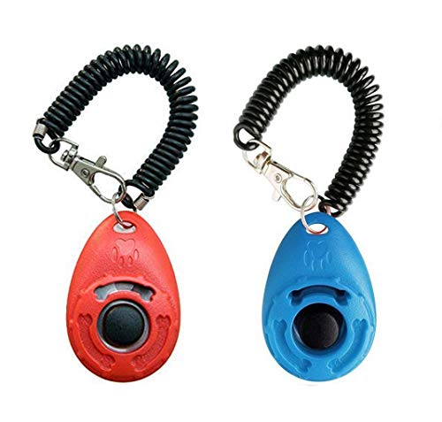 Dog Training Clicker with Wrist Strap – OYEFLY Durable Lightweight Easy to Use, Pet Training Clicker for Cats Puppy Birds Horses. Perfect for Behavioral Training 2-Pack (Red and Blue)