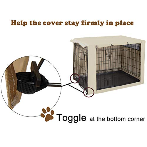 HiCaptain Polyester Dog Crate Cover – Durable Windproof Pet Kennel Cover for Wire Crate Indoor Outdoor Protection (48 inches, Light Tan)