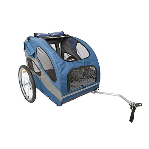 PetSafe Happy Ride Aluminum Dog Bicycle Trailer – Lightweight Durable Frame – Easy to Connect and Disconnect to Bikes – Includes Three Storage Pouches and Safety Tether – Collapsible to Store – Large