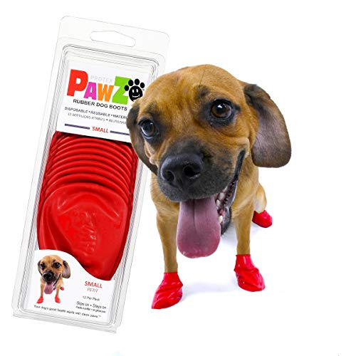 Pawz Dog Boots | Dog Paw Protection with Dog Rubber Booties | Dog Booties for Winter, Rain and Pavement Heat | Waterproof Dog Shoes for Clean Paws | Paw Friction for Dogs | Dog Shoes (Red)