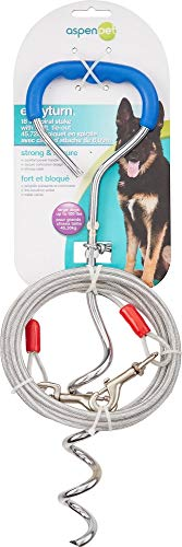 Petmate Easyturn Stake with Cable Corkscrew Dog Tie Out Domed Handle Holds up to 100 Pounds