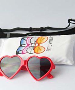 G012 Dog Heart shape vintage retro Sunglasses goggles w retainer strap M-L Dogs 20lb &over (Red, UV400)