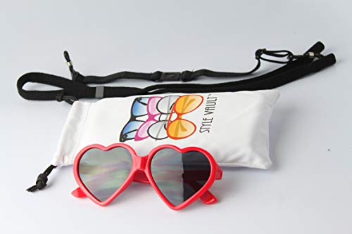G012 Dog Heart shape vintage retro Sunglasses goggles w retainer strap M-L Dogs 20lb &over (Red, UV400)
