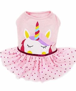kyeese Dog Girl Dress Unicorn Pet Dresses for Medium Dogs Birthday Dresses Tutu Dress