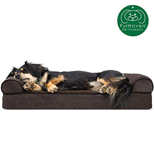 Furhaven Pet Dog Bed   Orthopedic Faux Fleece & Chenille Soft Woven Traditional Sofa-Style Living Room Couch Pet Bed w/ Removable Cover for Dogs & Cats, Coffee, Medium