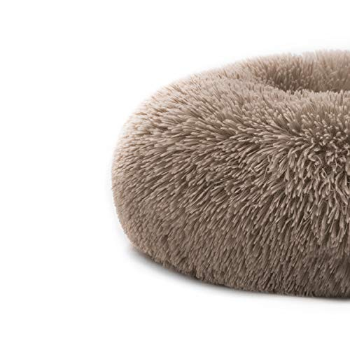 "MIXJOY Orthopedic Dog Bed Comfortable Donut Cuddler Round Dog Bed Ultra Soft Washable Dog and Cat Cushion Bed (23""x23"") (Brown)"