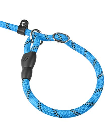 Joytale Slip Lead Dog Leash, Reflective Rope Training Leash with Comfortable Padded Handle for Small Medium Dogs, 6 Feet, Blue