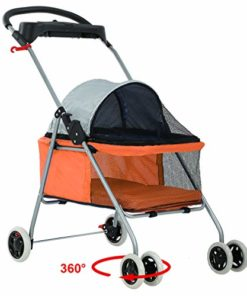 BestPet New Orange Posh Pet Stroller Dogs Cats w/Cup Holder