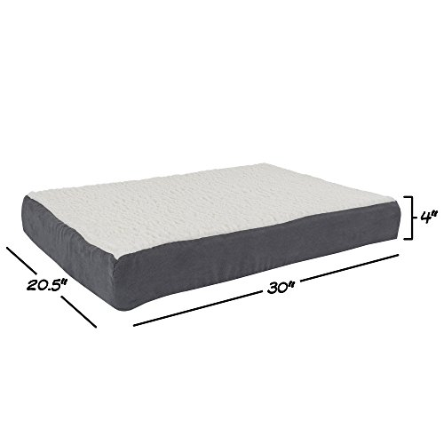 PETMAKER Orthopedic Sherpa Top Pet Bed with Memory Foam and Removable Cover 30×20.5×4 Gray