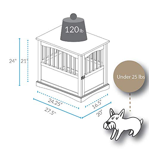 Casual Home End Table, 24-Inch Pet Crate, 20″ W x 27.5″ D x H, Espresso