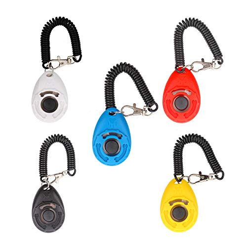 Chiachi 5 Piece Dog Training Clicker Deluxe Model With Wristband New Upgrade Version, 5 Color