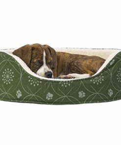 Furhaven Pet Dog Bed | Round Oval Cuddler Paw Print Décor Flannel Nest Lounger Pet Bed for Dogs & Cats, Jade Green, Small