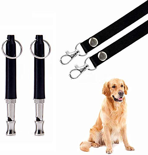 Mumu Sugar Dog Whistle to Stop Barking, Adjustable Pitch Ultrasonic Training Tool Silent Bark Control for Dogs- Pack of 2 PCS Whistles with 2 Free Lanyard Strap