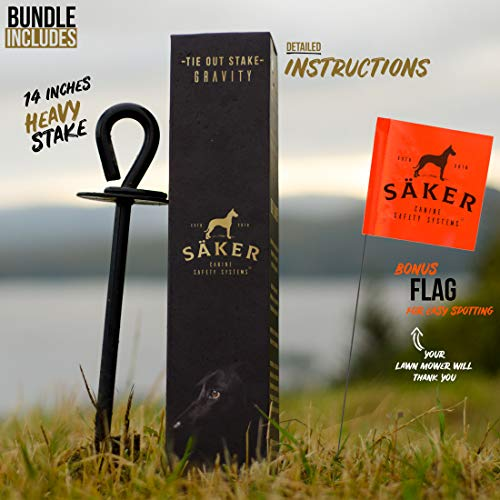 SÄKER Premium Tie Out Stake – Heavy Duty Anchor That fits Any Dog | Tether for Tie-Out Cable That Will Never Rust, Bend or Get Pulled Out
